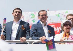 В Краснодаре Вениамин Кондратьев принял участие в праздничном шествии в честь 1 Мая