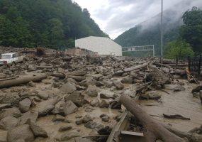 Появилось видео схода мощного селевого потока в Сочи