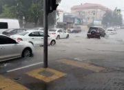 В центре Геленджика из-за ливня подтопило несколько улиц. Видео