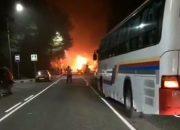 На трассе под Геленджиком загорелся автобус