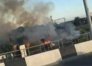 В Адыгее загорелась трава возле Яблоновского моста