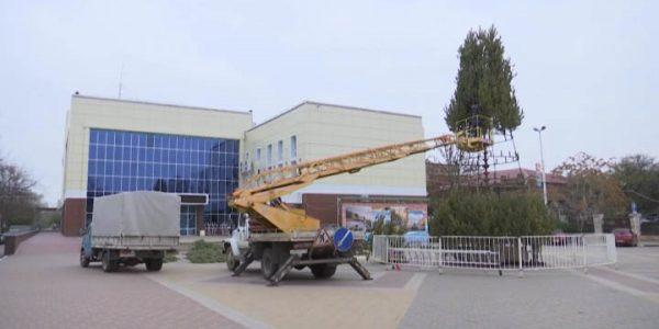 На главной городской площади Ейска к Новому году установили 15-метровую сосну