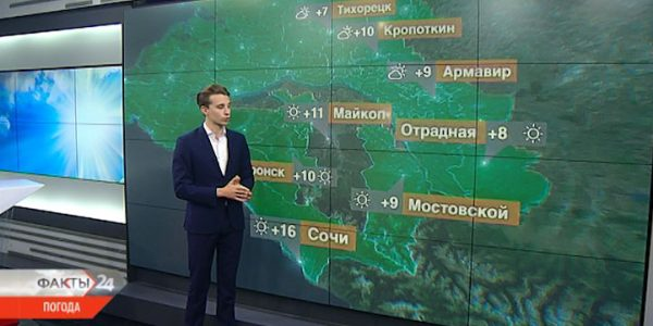 В Краснодарском крае 1 декабря температура воздуха днем поднимется до +13 °С