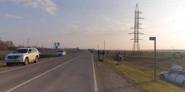 Появилось видео с места ДТП со школьным автобусом в Абинском районе