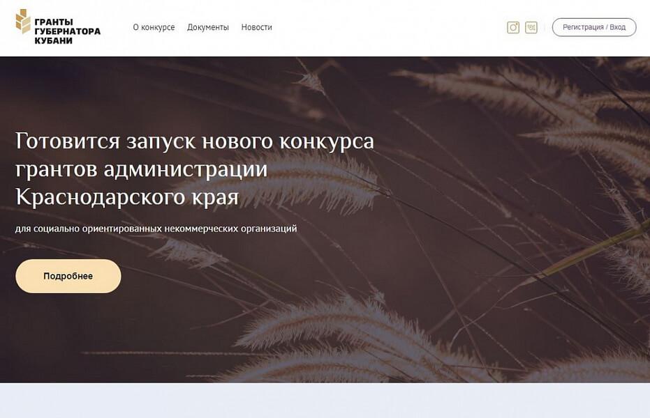 В Краснодарском крае запустили электронную платформу «Гранты губернатора Кубани»