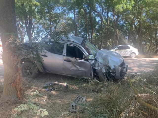 На Кубани пикап на большой скорости вылетел с трассы и врезался в дерево