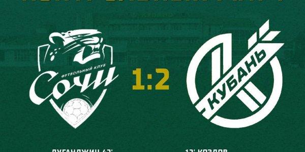 ПФК «Кубань» в товарищеском матче обыграл «Сочи»