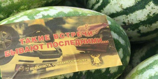 В Тихорецком районе появились арбузы, «призывающие» водителей пристегнуться