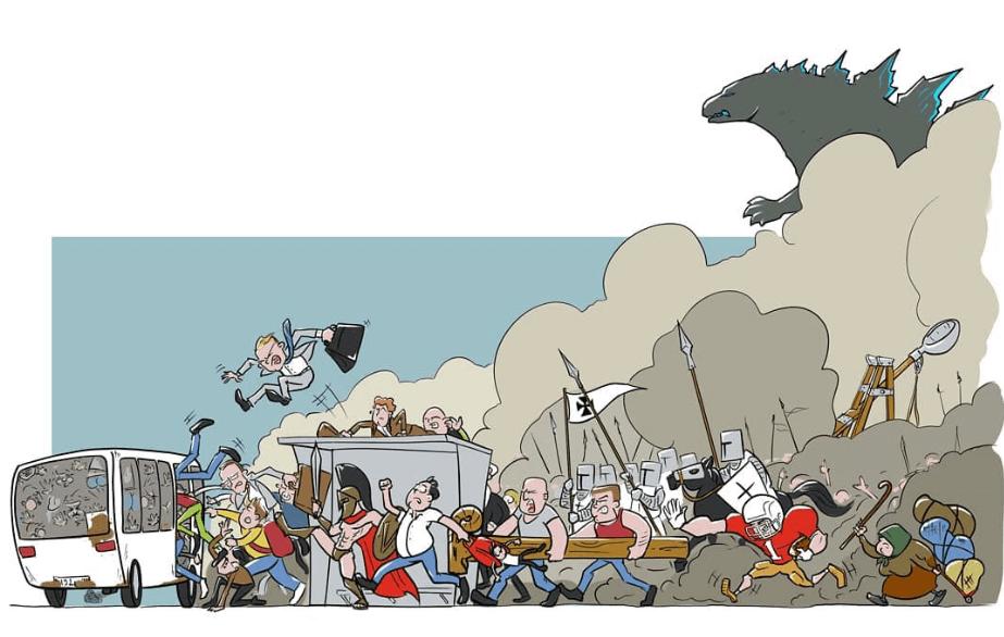 Краснодарский художник изобразил «штурм» автобуса в час пик