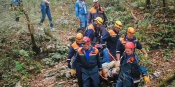 В горах Сочи спасатели на носилках вынесли из леса травмированного грибника