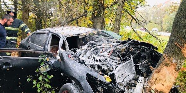 В Краснодаре иномарка вылетела с дороги и врезалась в дерево, водитель погиб